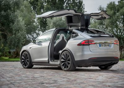 Vue extérieure d'une Tesla Model X, de dos, grise métallisée, portes papillon relevées