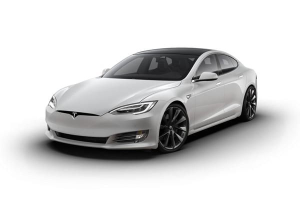 Vue de face de la Tesla S performance grise métallisée